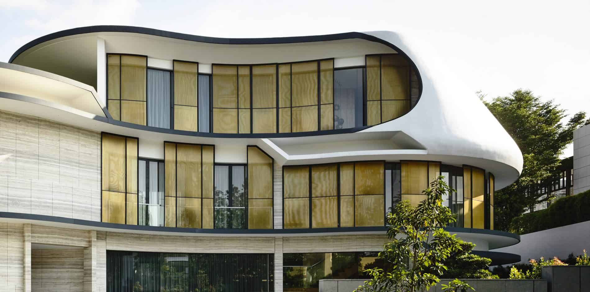 Customized Curved Sliding Panel with Anodized Mesh Infill at Binjai Park by K2lD Architects Pte Ltd
