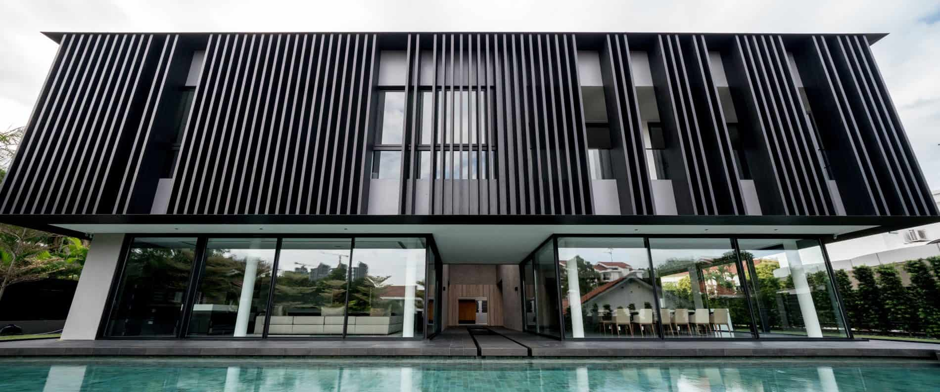 Customized 600 mm x 75 mm wide x 5500 mm high Fins at Tanglin Hill by K2LD Architects Pte Ltd